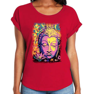 Yoga Clothing for You Ladies Psychedelic Buddha Dolman Rolled Sleeve Tee Shirt - Yoga Clothing for You