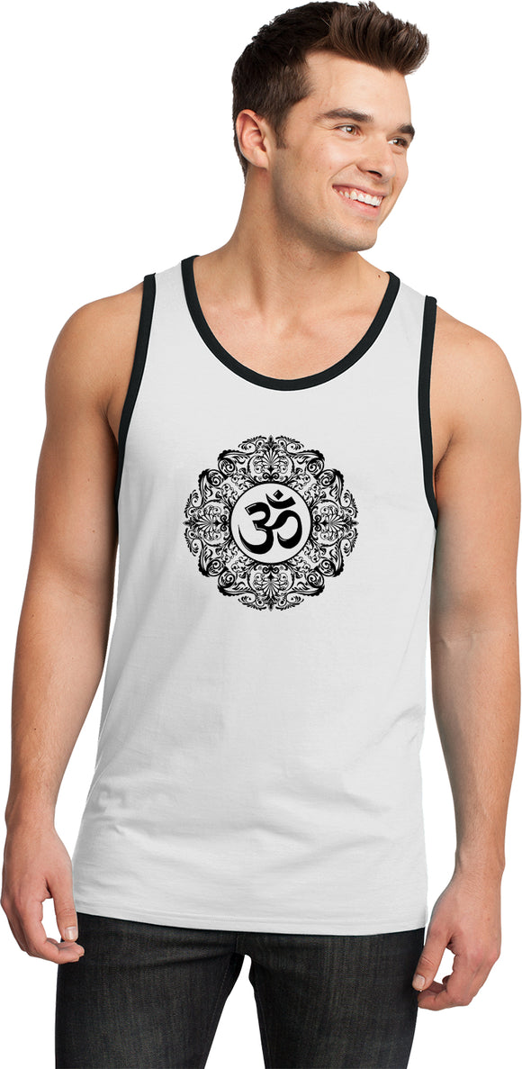 Yoga Clothing For You Black Ornate OM 100% Cotton Ringer Yoga Tank Top