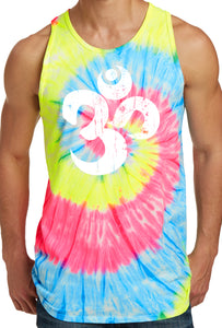 Mens White Distressed Om Tie Dye Tank Top