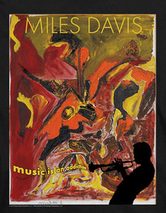 Miles Davis Slim Fit T-Shirt Music is an Addiction Black Tee
