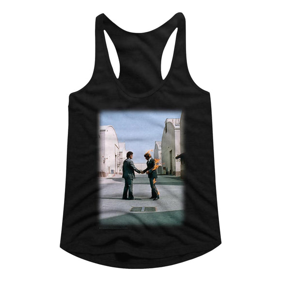 Pink Floyd Ladies Racerback Wish You Were Here Album Cover Black Tank Top