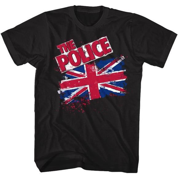 The Police Tall T-Shirt Union Jack Flag Black Tee
