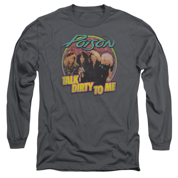 Poison Long Sleeve T-Shirt Talk Dirty Charcoal Tee
