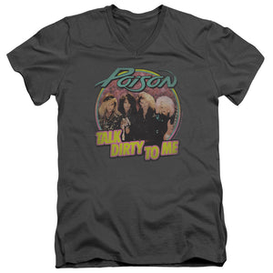 Poison Slim Fit V-Neck T-Shirt Talk Dirty Charcoal Tee