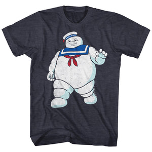 The Real Ghostbusters T-Shirt Mr Stay Puft Navy Heather Tee