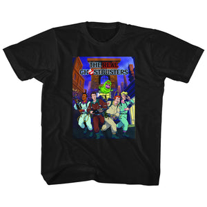 The Real Ghostbusters Kids T-Shirt Poster Black Tee