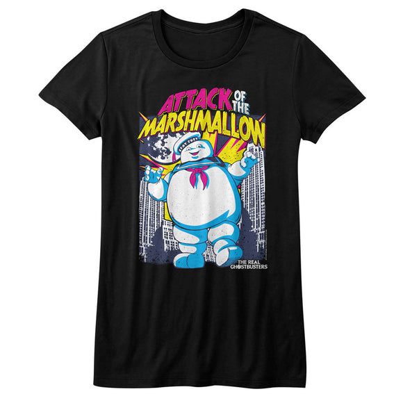 The Real Ghostbusters Juniors T-Shirt Attack of the Marshmallow Black Tee