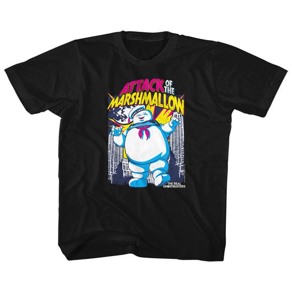 The Real Ghostbusters Kids T-Shirt Attack of the Marshmallow Black Tee