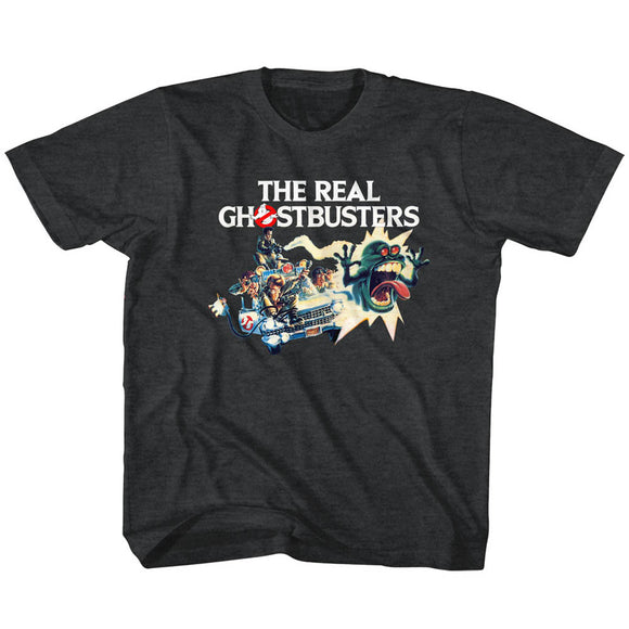 The Real Ghostbusters Kids T-Shirt Car Poster Black Heather Tee