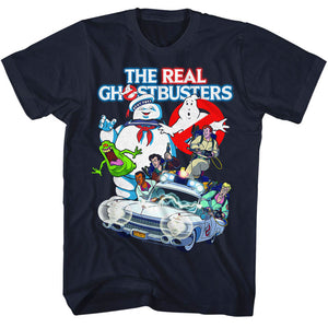 The Real Ghostbusters T-Shirt Collage Navy Tee