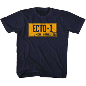 The Real Ghostbusters Toddler T-Shirt Ecto 1 License Plate Navy Tee