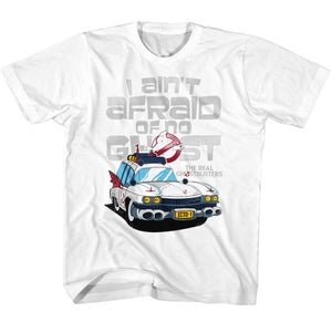 The Real Ghostbusters Toddler T-Shirt Ecto 1 Ain't Afraid White Tee