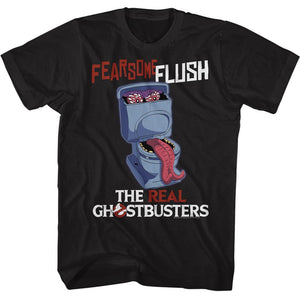 The Real Ghostbusters Tall T-Shirt Fearsome Flush Black Tee