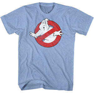 The Real Ghostbusters T-Shirt No Ghost Logo Light Blue Heather Tee