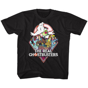 The Real Ghostbusters Kids T-Shirt Characters Black Tee