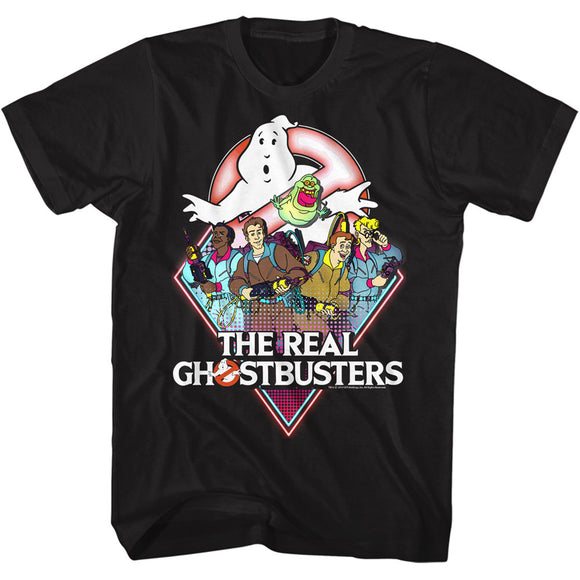 The Real Ghostbusters Tall T-Shirt Characters Black Tee