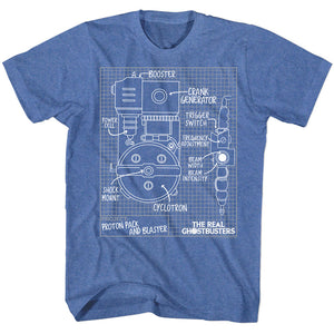 The Real Ghostbusters T-Shirt Blueprints Royal Heather Tee
