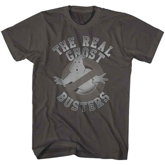 The Real Ghostbusters T-Shirt Grayscale Logo Smoke Tee