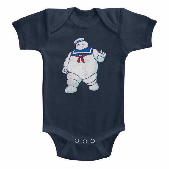 The Real Ghostbusters Infant Bodysuit Mr Stay Puft Navy Romper