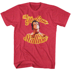 Rocky T-Shirt The Italian Stallion Beaten Up Cherry Heather Tee