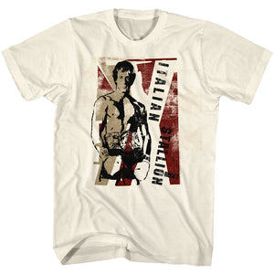 Rocky T-Shirt Distressed Italian Stallion Portrait Natural Tee