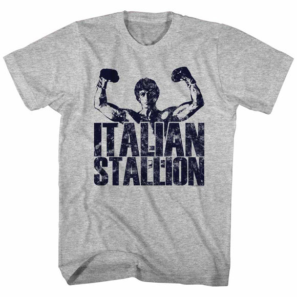 Rocky T-Shirt Distressed Italian Stallion Hands Up Gray Heather Tee