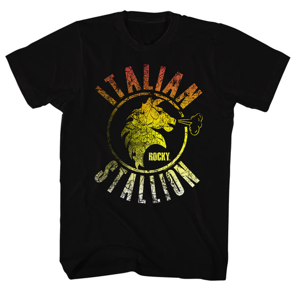 Rocky Tall T-Shirt Distressed Gradient Italian Stallion Black Tee