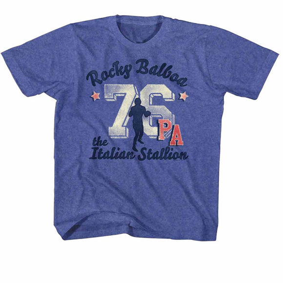Rocky Kids T-Shirt Distressed 76 PA Royal Heather Tee