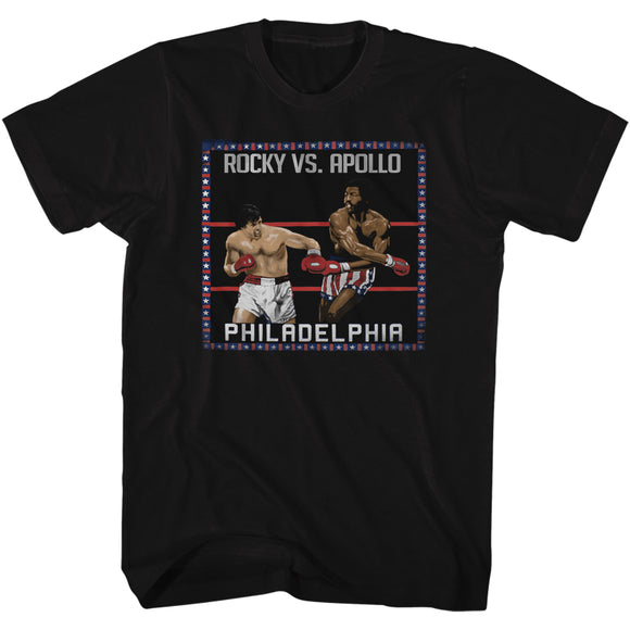 Rocky T-Shirt VS Apollo Creed In Ring Painting Black Tee