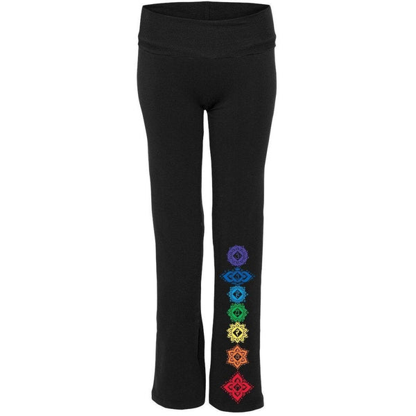 Yoga Clothing for You Womens Floral 7 Chakras Yoga Pants