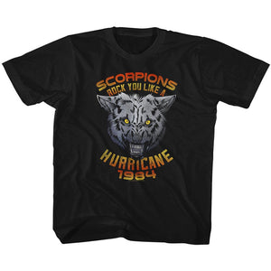 Scorpions Kids T-Shirt Rock You Like a Hurricane Wolf Black Tee