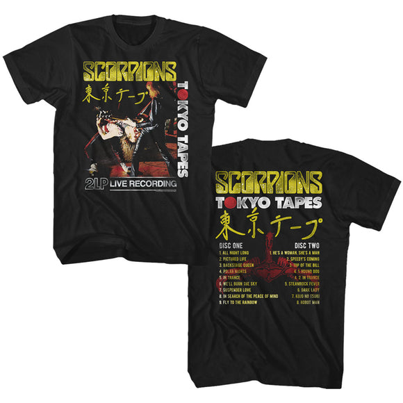 Scorpions Tall T-Shirt Tokyo Tapes Front and Back Black Tee