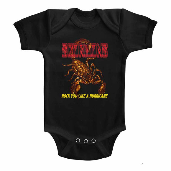Scorpions Infant Bodysuit Rock You Like a Hurricane Scorpion Black Romper