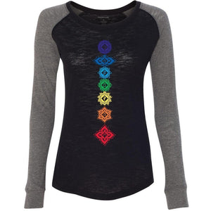 "Yoga Clothing for You Ladies ""7 Floral Chakras"" Elbow Patch Tee - Black/Granite - Yoga Clothing for You"