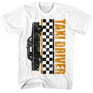 Taxi Driver T-Shirt Checkers White Tee