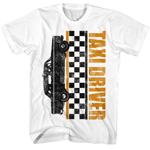 Taxi Driver Tall T-Shirt Checkers White Tee