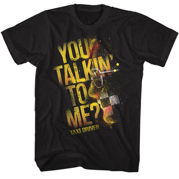 Taxi Driver Tall T-Shirt You Talking To Me Splatter Black Tee