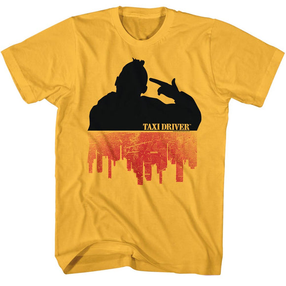 Taxi Driver T-Shirt Silhouette Over City Ginger Tee