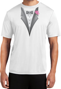 Tuxedo T-shirt Pink Flower Moisture Wicking Tee