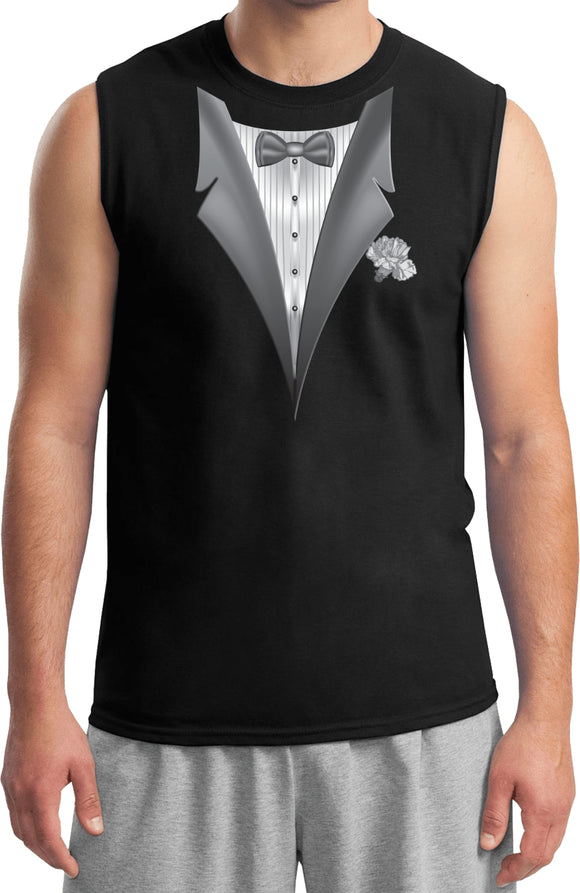 Men's Tuxedo T-shirt White Flower Muscle Tee