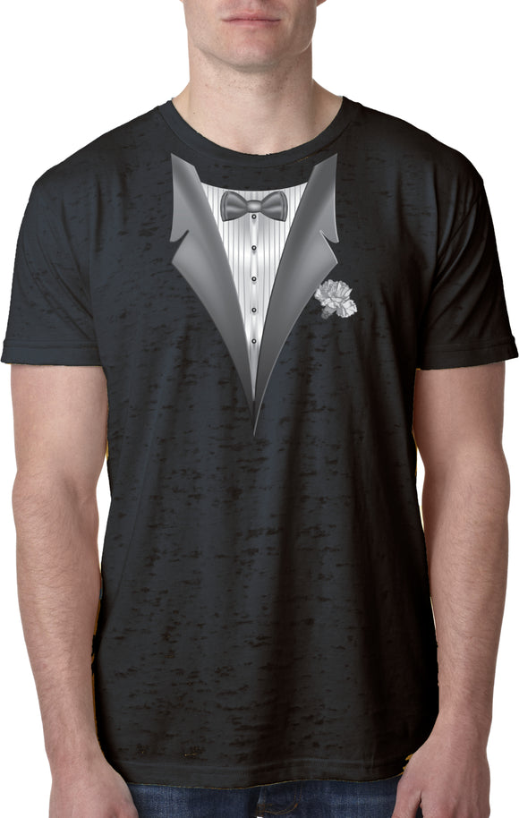 Tuxedo T-shirt White Flower Burnout Tee