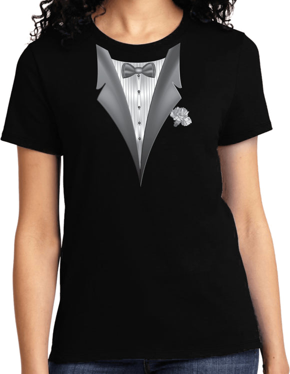 Ladies Tuxedo T-shirt White Flower Tee