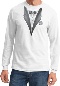 Tuxedo T-shirt White Flower Long Sleeve