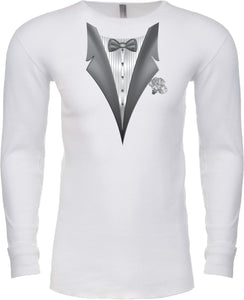 Tuxedo T-shirt White Flower Long Sleeve Thermal
