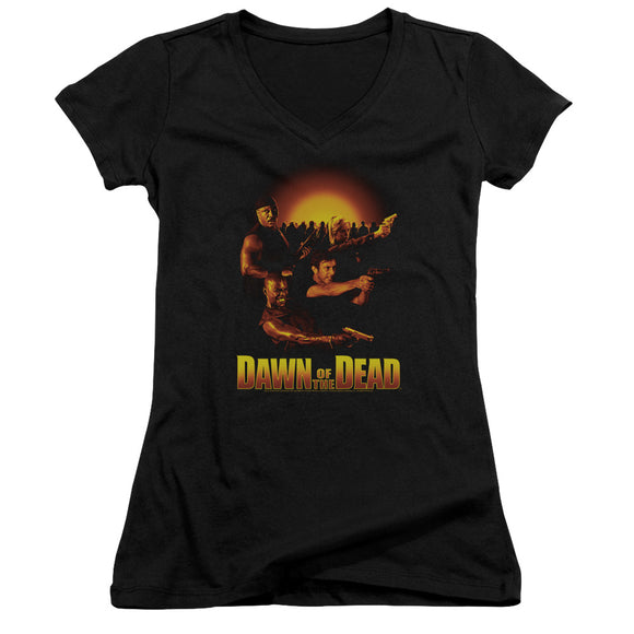 Dawn of the Dead Juniors V-Neck T-Shirt Main Characters Black Tee