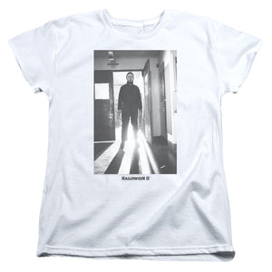 Halloween Womens T-Shirt Michael Myers in Doorway White Tee