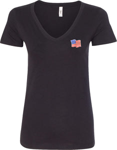 Patriotic Shirt Waving USA Flag Patch Pocket Print Ladies V-Neck