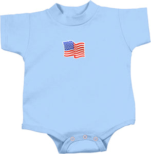 Waving USA Flag Patch Small Print Infant Romper