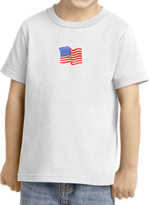 Kids Waving USA Flag T-shirt Patch Small Print Toddler Tee