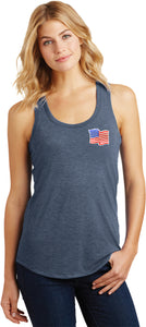 Ladies Waving USA Flag Racerback Patch Pocket Print